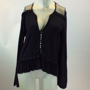Elizabeth and James Black Silk Ruffle Blouse